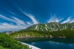 Panoramablick von Bergen im Sommer Lizenzfreies Stockbild