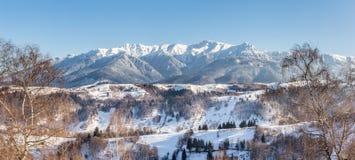 Panoramablick von Bucegi-Bergen, Ansicht von Pestera, Brasov, Siebenbürgen, Rumänien lizenzfreies stockbild