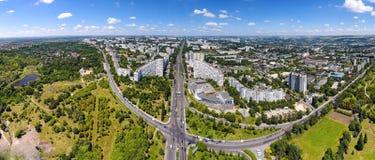 Panoramablick von Chisinau an den Stadt-Toren Hauptstadt Stockfotos
