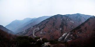 Panoramablick von den Bergen bedeckt mit Schnee Lizenzfreies Stockbild