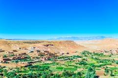Panoramablick von der Oase Ait Ben Haddou in Marokko Lizenzfreie Stockfotos