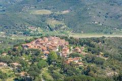 Panoramablick von Dorf Sant Ilario in Elba Island, Toskana, Italien stockfotografie