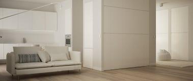 Panoramablick von einer Raumwohnung mit Parkettboden, Küche im weißen Wohnzimmer mit Sofa, moderner Architekturinnenraum lizenzfreie abbildung