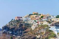 Panoramablick von Fira auf Santorini lizenzfreies stockfoto