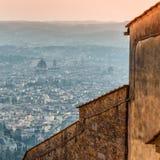 Panoramablick von Florenz von Fiesole Toskana, Italien Lizenzfreie Stockfotos