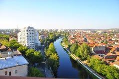 Panoramablick von Fluss Oradea und Crisul Repede Lizenzfreie Stockbilder