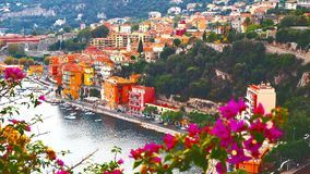 Panoramablick von französischem Riviera nahe Stadt des Villefranche-sur-Mer, Menton, Monaco Monte Carlo, ` Azur, französisches Ri Stockbilder