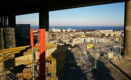 Panoramablick von Gdansk Künstlerischer Blick in den Weinlesekräftigen farben Lizenzfreie Stockfotografie