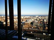 Panoramablick von Gdansk Künstlerischer Blick in den Weinlesekräftigen farben Stockfotos