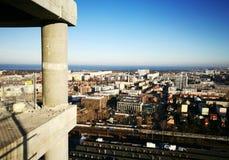 Panoramablick von Gdansk Künstlerischer Blick in den Weinlesekräftigen farben Stockbild