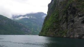 Panoramablick von Geiranger-Fjord stock video footage