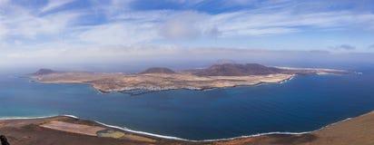 Panoramablick von Graciosa-Insel von Mirador-del Rio Lanzarote Kanarische Inseln stockfoto