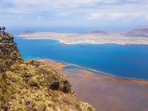 Panoramablick von Graciosa-Insel von Mirador-del Rio Lanzarote Kanarische Inseln spanien stockfotos