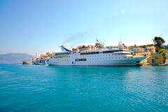 Panoramablick von griechischer Mittelmeerinsel Kastellorizo (Megisti), am nächsten in die Türkei Stockfotografie