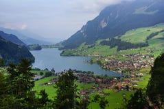 Panoramablick von Grindelwald-Dorf, die Schweiz Stockfotografie
