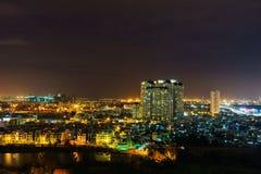 Panoramablick von Ho Chi Minh-Stadt bis zum Nacht, Vietnam Stockfotografie