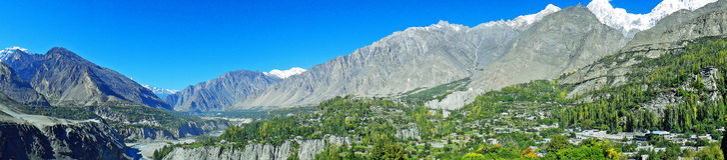Panoramablick von Hunza-Tal in Pakistan stockfotografie