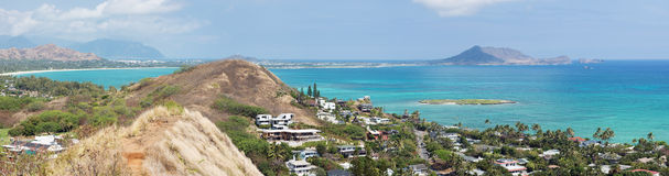 Panoramablick von Kailua von der Lanikai-Pillenschachtel-Spur Lizenzfreies Stockfoto
