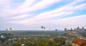 Panoramablick von Kamianets-Podilskyistadt Lizenzfreies Stockbild