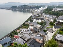 Panoramablick von Kitsuki-Stadt - Oita-Präfektur, Japan stockfotografie