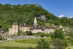 Panoramablick von kleinen Dorf Baume les Messieurs Lizenzfreie Stockfotos