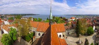 Panoramablick von Konstanz-Großstadt (Deutschland) und von Stadt von Kreuzlinge lizenzfreies stockfoto