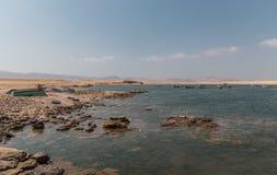 Panoramablick von Lagunillas-Strand im national Reserve von Paracas-Park, Peru lizenzfreies stockfoto