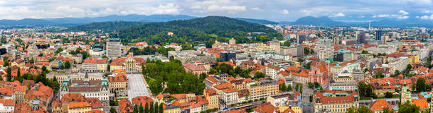 Panoramablick von Ljubljana, Slowenien Stockbild