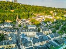 Panoramablick von Luxemburg-Stadt durin der Sonnenuntergang lizenzfreie stockfotografie