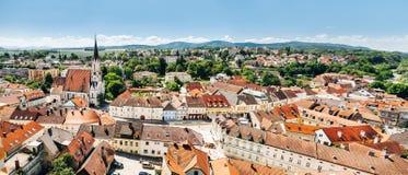 Panoramablick von Melk fand in Niederösterreich Stockfotografie
