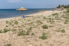 Panoramablick von Monopetro-Strand an Sithonia-Halbinsel, Chalkidiki, Cent Stockfoto