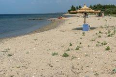 Panoramablick von Monopetro-Strand an Sithonia-Halbinsel, Chalkidiki, Cent Lizenzfreies Stockfoto