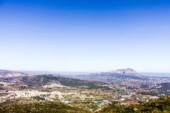 Panoramablick von MontgÃ-³ Berg in Denia und in Javea, Spanien lizenzfreies stockfoto