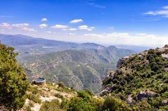 Panoramablick von Montserrat-Bergen nahe Barcelona, Spanien Stockfotografie