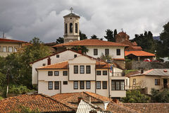 Panoramablick von Ohrid macedonia lizenzfreie stockfotos