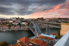 Panoramablick von Oporto-Stadt Stockfotos