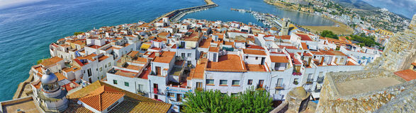 Panoramablick von PeñÃscola Stockfoto