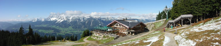 Panoramablick von Planai-Berg Stockfotografie