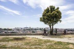 Panoramablick von Porto zu Gaia-Stadtbild, Oporto Stockfotografie