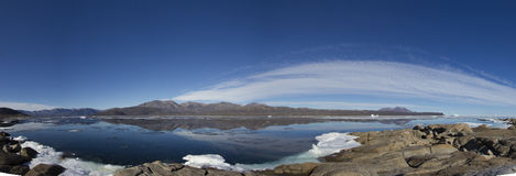 Panoramablick von Qikiqtarjuaq Stockfotografie