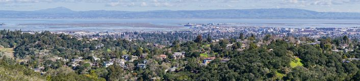 Panoramablick von Redwood City und von San Carlos, Silicon Valley, San Francisco Bay, Kalifornien lizenzfreies stockbild