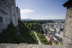Panoramablick von Salzburg von der Hohensalzburg-Festung Lizenzfreies Stockbild