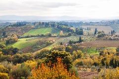 Panoramablick von San Gimignano im Herbst, Toskana, Italien Stockfotos