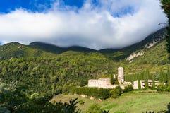 Panoramablick von San Pietro in Valle-Kloster Lizenzfreie Stockfotos