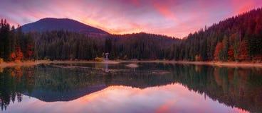 Panoramablick von See großer Höhe Synevir bei Herbstsonnenuntergang Lizenzfreies Stockfoto