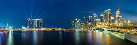 Panoramablick von Singapur-Geschäftsgebietskylinen Stockbild