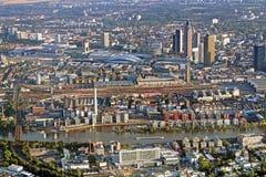 Panoramablick von Skylinen Frankfurt, Deutschland Stockfoto