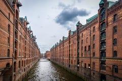 Panoramablick von Speicherstadt Lizenzfreie Stockfotografie