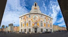 Panoramablick von St. George Palace Palazzo San Giorgio in historischer Mitte Genuas, nahe ` ` Porto Antico altem Hafengebiet, It Lizenzfreie Stockbilder