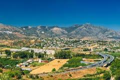 Panoramablick von Stadtbild von Mijas in Màlaga, Andalusien, Spanien Lizenzfreies Stockfoto